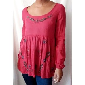 Free People Red Beaded Blouse 778
